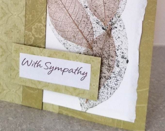 Featured listing image: With Sympathy Dimensional Handmade Card / 5x7 inch / coordinating envelope / Watercolor paper / stamped / Custom Message / Creative Designs