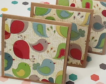 Mini Notecard set of 4, square 2.5 inch tags, Woodland Collection Birds,  folded notecards, SNAIL MAIL, gift inserts, customer appreciation
