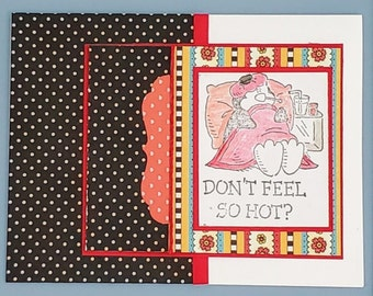 Get Well card,  handstamped retired Stampin Up stamp, Personalized Message option