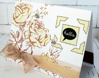 Hello All Occasion Handmade Card / watercolor, Blank / Dimensional / Floral