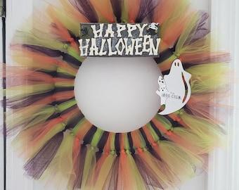 Halloween Wreath, Tulle Wreath with Happy Halloween, Boo Crew Ghosts, Fall Decor