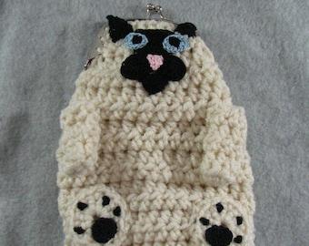 Crochet Pattern - Siamese Cat Coin Purse - Cat Lover Gift - Purse Pattern - PDF - Digital Download