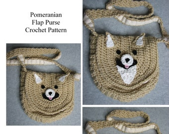 Pomeranian - Purse Crochet Pattern - Flap Purse - Three Pomeranian Faces to Chose From - With Tutorials - Animal Purse - Dog Lover Gift