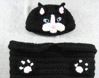 Black Cat - Baby Cocoon Crochet Pattern- Sleep Bag Pattern - Baby Crochet Pattern - PJ Pattern - Sweet Pea Pattern -Digital Download