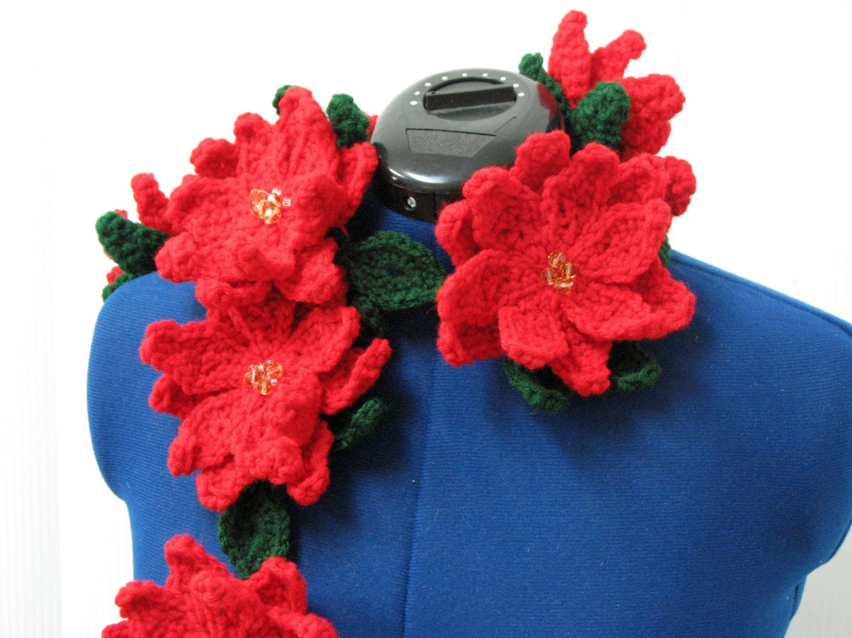 Poinsettia Scarf Crochet Pattern With Tutorials Digital Etsy