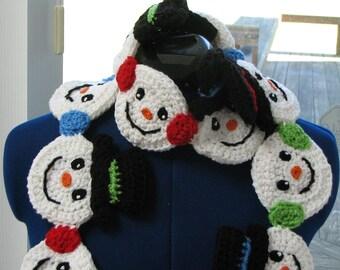 Snowman Heads - Scarf Crochet Pattern - Digital Download