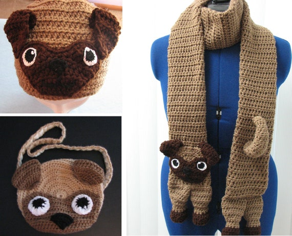 Pug Hat Scarf and Purse Crochet Pattern with Tutorials  8723c83bcd6