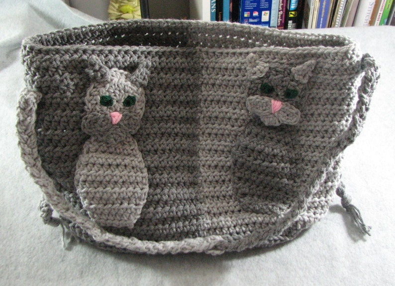 Tabby cat applique purse crochet pattern digital download etsy