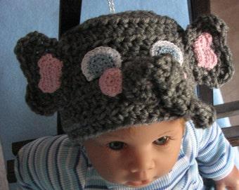 Elephant - Infant Elephant Hat Crochet Pattern - Elephant Pattern - Animal Hat Pattern - Baby Hat Pattern - Digital Download