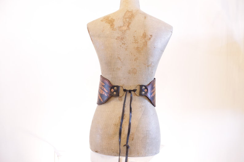 Antique tan and black wide leather waist belt with embossed raven wings design FREE SHIPPING