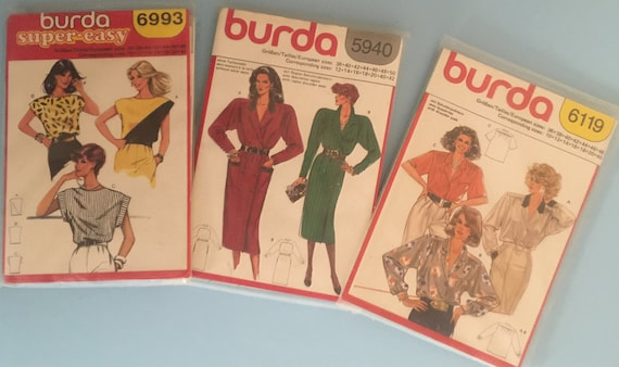 Set Of Three Burda Ladies Sewing Patterns Misses Dress Etsy