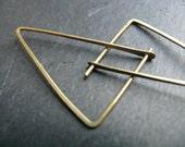 Minimalist triangle hoop earrings, small geometric hoop earrings, yoga jewellery, modern triangle earrings, Goddess symbol