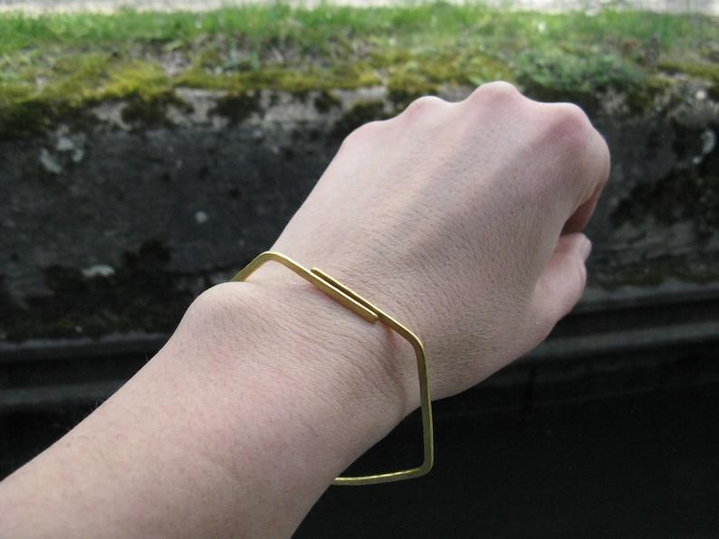 Hexagon bangle geometric jewellery brass or silver stacking bangle simple bracelet