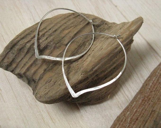 Lotus petal delicate silver hoop earrings,  handmade simple silver earrings, goldfilled hoops Everyday minimalist jewellery