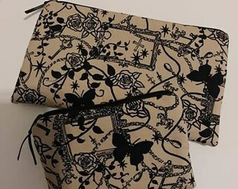 Goth Punk 2 Piece Set Zippered Wallet and Coin Pouch Make Up Bag Pencil Case Gothic Punk Crosses Butterflies
