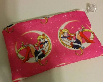 Pink Sailor Moon Padded Zippered Wallet  Pouch Make Up Bag Pencil Case Anime Cosplay