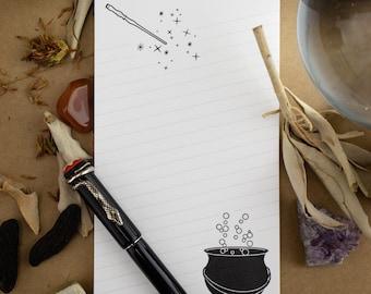 No Toil, No Trouble Cauldron & Wand Notepad