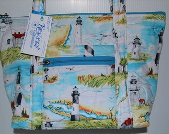Quilted Fabric Handbag Purse Beautiful with Lighthouses