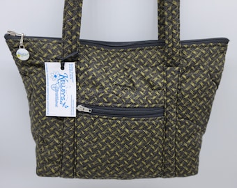 Quilted Fabric Handbag Purse Black and Green Basket Weave Pattern