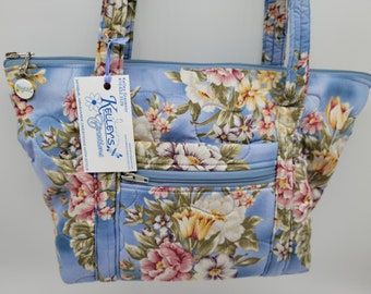 Quilted Fabric Purse Handbag Pretty Flowers on a Blue Background