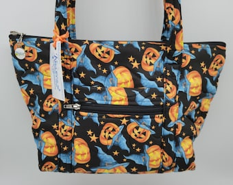 Quilted Fabric Handbag Purse Black with Spooky Jack-o'-Lanterns