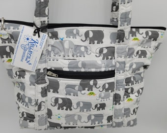 Quilted Fabric Bag Beige with Adorable Elephants