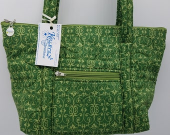 Quilted Fabric Bag Beautiful Green Fabric featuring a Lighter Green Design
