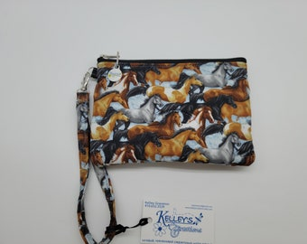 Quilted Fabric Handbag Wristlet with Horses