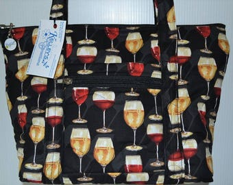 Quilted Fabric Handbag Purse Black with Wine Glasses