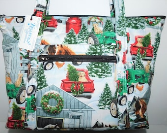 Quilted Fabric Tote Bag with a Winter Farm Scene featuring Horses, Dogs, Cats, Chickens and Tractors