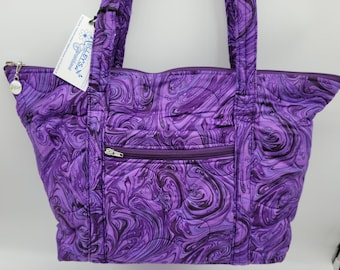 Quilted Fabric Tote Beautiful Purple Swirl