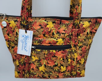 Quilted Fabric Bag Purse Beautiful Fall Leaf Collage