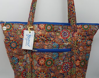 Quilted Fabric Tote with a Colorful Geometric Circle Pattern