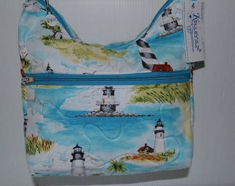 Quilted Fabric Handbag Hobo Slouch Purse with Beautiful Lighthouses
