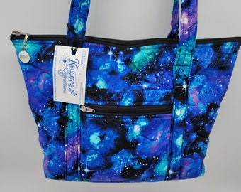 Quilted Fabric Handbag Purse Black with Stars and Galaxies