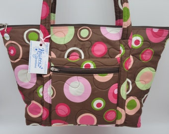 Quilted Fabric Tote Brown with Bold Bright Colorful Circles