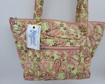 Quilted Fabric Purse Handbag Pretty Pink Paisley on a Green Background