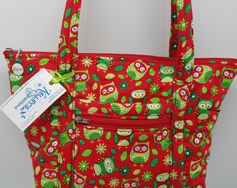 Quilted Fabric Handbag Red with Adorable Whimsical Owls