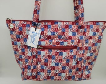Quilted Fabric Tote Red, White and Blue Floral Patchwork Design