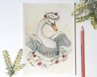 Swan, A5 Mini Full Colour Art Print by flossy-p. Nursery art, with a bird and flowers, for baby girls.