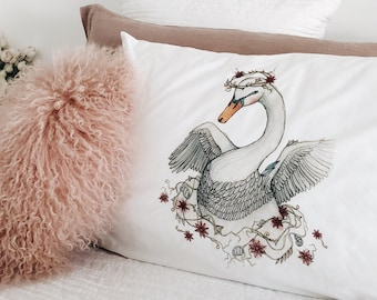 Swan pillowcase, facing left. White boho, nature, animal, bird, colour, cotton, pillowslip, sham for bed, by flossy-p