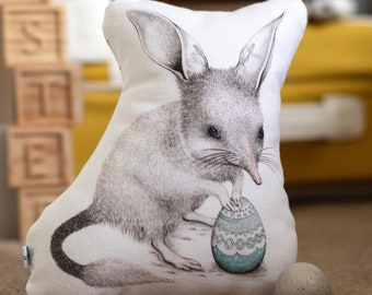 Easter Bilby Stuffie, Baby Size. Australian Animal Softie, Plush Soft Toy. Illustration by flossy-p. Grey back.