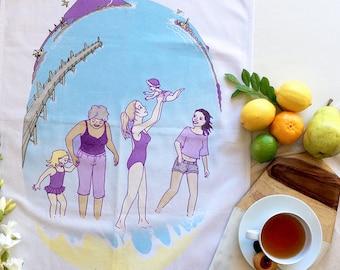 Cotton Tea Towel, Women supporting women, original art by flossy-p
