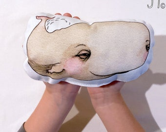 Baby Whale Stuffie, Baby Size. Animal Softie, Plush Soft Toy. Illustration by flossy-p. Nude with white back.