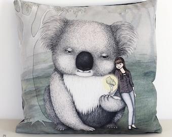 Koala cushion cover. Decorative pillow. Velvet pillow. Gum tree. Animal illustration. Australian gift with original art by flossy-p