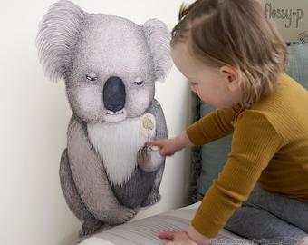 Life Size Koala Wall Decal, Fabric Wall Sticker. Nursery decor, wall art, Australian animal, art by flossy-p
