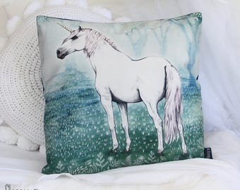 Unicorn, Green cushion cover. Decorative pillow. Sage and blue, velvet, mythical garden. Gift with art by flossy-p