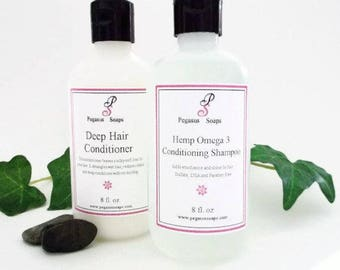 Combo No Sulfate Hemp Omega 3 Shampoo and Deep Hair Conditioner Set 8 oz   Select Your Own Scent