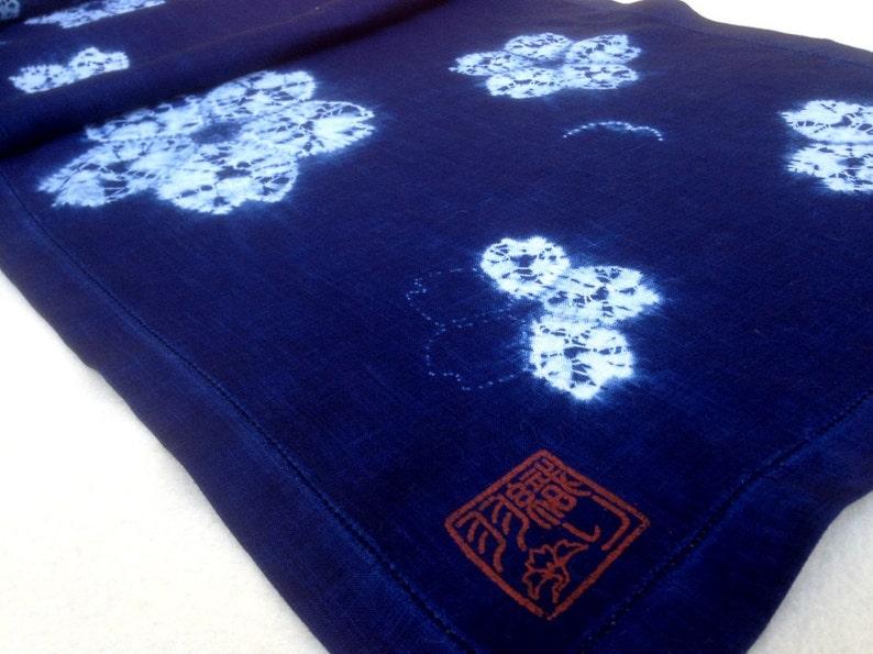 Cherry blossom table runner in indigo image 0