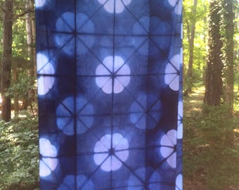 Variagated florals in blue and white banner